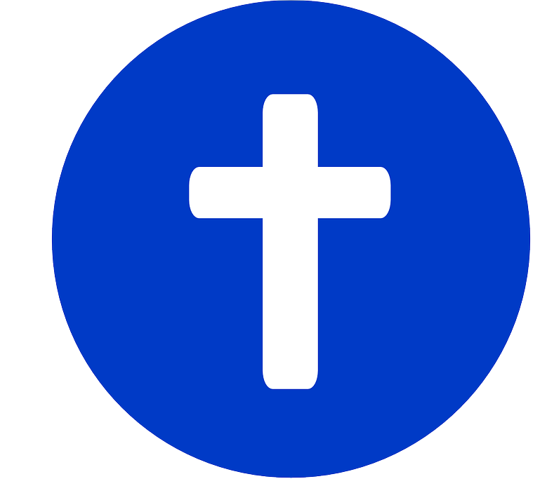 white cross in blue circle